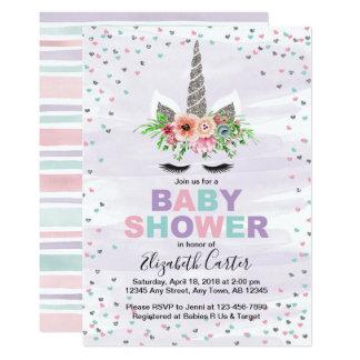 Unicorn baby shower invitation for girls purple