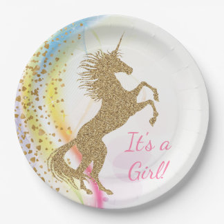 Unicorn Baby Shower Paper Plates 9 Inch Paper Plate