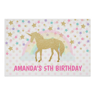 Unicorn Backdrop, Unicorn Birthday Poster