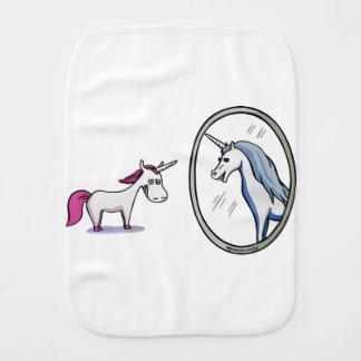 Unicorn before mirrors - Unicorn in front OF Burp Cloth