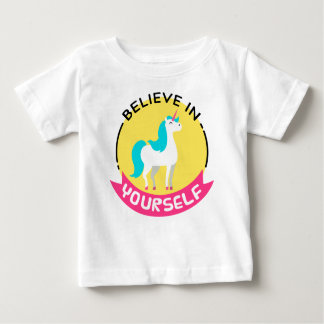 """Unicorn """"Believe in yourself"""" motivational drawing Baby T-Shirt"""