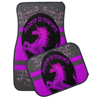 "Unicorn, ""Believe in yourself""  pink Car Mat"