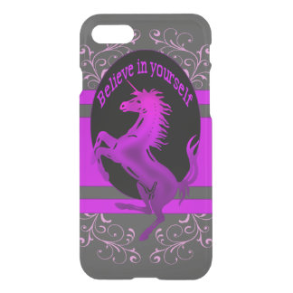 """Unicorn, """"Believe in yourself"""" pink iPhone 7 Case"""