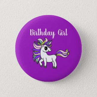 unicorn Birthday girl,  birthday party 6 Cm Round Badge