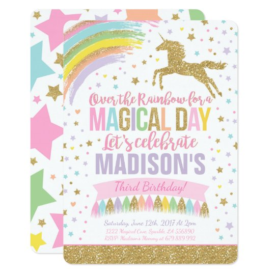 Birthday Quotes For Invitations: Unicorn Birthday Invitation Pink Gold Unicorn