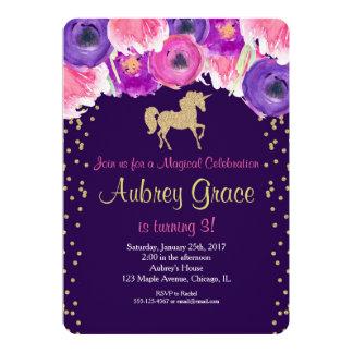 Unicorn birthday invitation, pink purple gold card