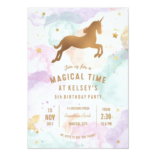 unicorn birthday party invitation zazzle com au