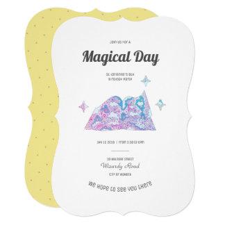 Unicorn Birthday Party Invitation Pink Blue Yellow