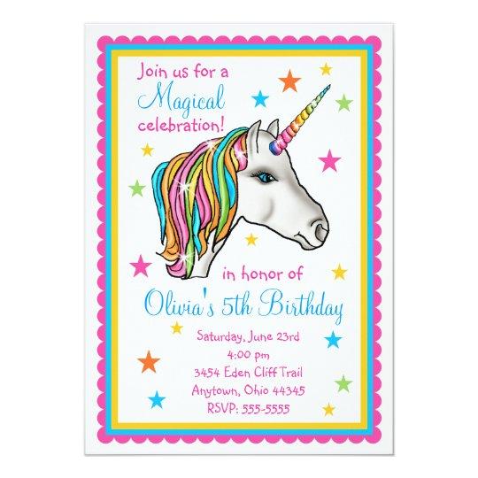 Unicorn Birthday Party Invitations | Zazzle