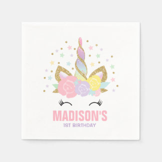 Unicorn Birthday Party Napkin Whimsical Unicorn Disposable Napkins