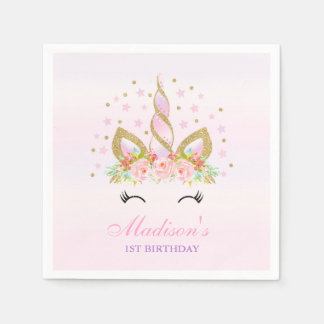 Unicorn Birthday Party Napkin Whimsical Unicorn Paper Napkin