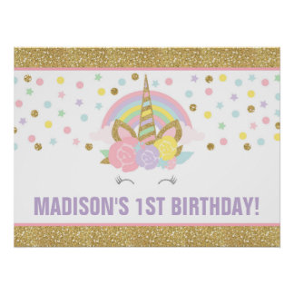 Unicorn Birthday Party Poster Unicorn Decorations