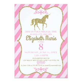 Unicorn Birthday Pink and Gold Glitter Invitation