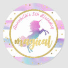 Unicorn Birthday Sticker | Watercolor Glitter