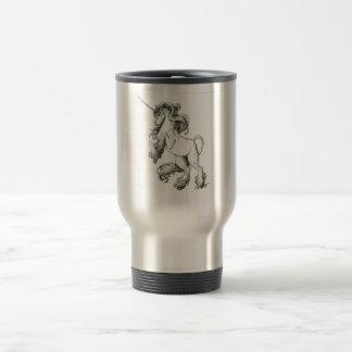 Unicorn black and white travel mug