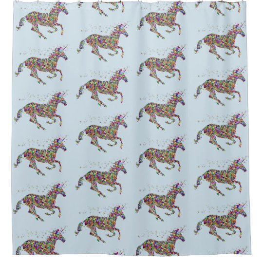 Unicorn Blue Shower Curtain