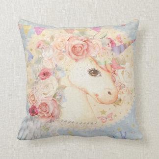 Unicorn Boho Butterfly Floral Girl Nursery Pillow