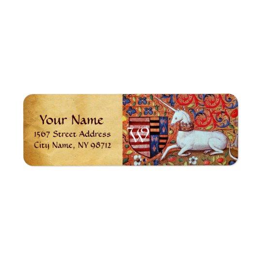 UNICORN BROWN PARCHMENT Monogram Return Address Label