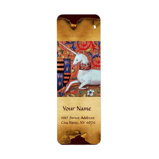 UNICORN BROWN PARCHMENT RETURN ADDRESS LABEL