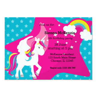Unicorn * CHOOSE your background color 13 Cm X 18 Cm Invitation Card