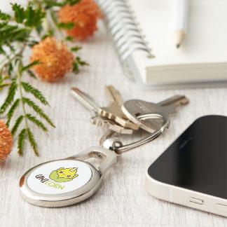 Unicorn Corn Cobb Silver-Colored Oval Key Ring