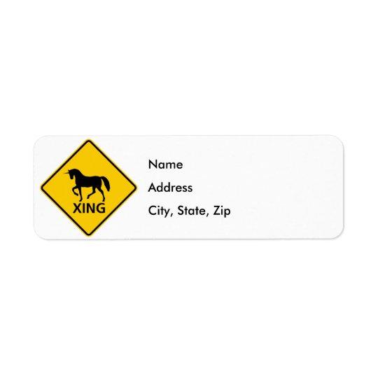 Unicorn Crossing Highway Sign Return Address Label