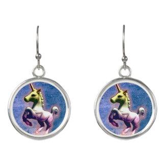 Unicorn Drop Dangly Earrings (Burnt Blue)