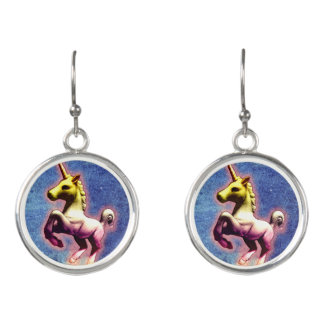 Unicorn Drop Dangly Earrings (Galaxy Shimmer)