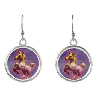 Unicorn Drop Dangly Earrings (Purple Mist)