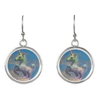 Unicorn Drop Dangly Earrings (Sandy Blue)