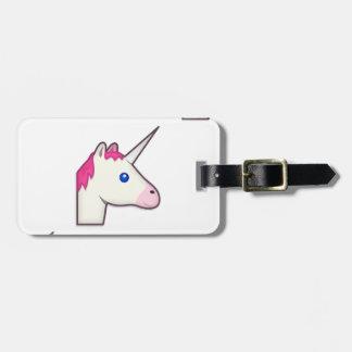 unicorn emoji luggage tag