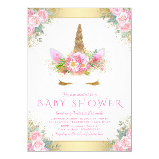 Unicorn Face Baby Shower Invitations