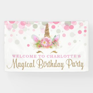 Unicorn Face Cute Unicorn Birthday Party Banners