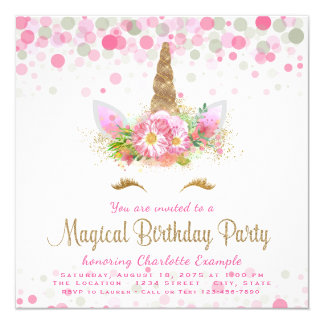 Unicorn Face Girls Birthday Party Invitations