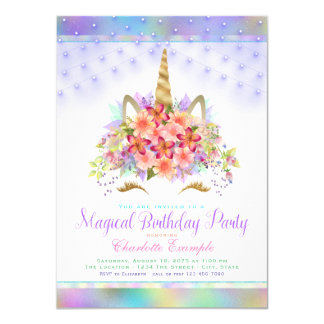 Unicorn Face Rainbow Birthday Party Invitations