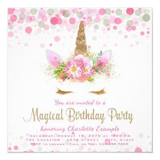 Unicorn Face Unicorn Birthday Party Invitations