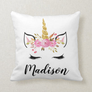 Unicorn Face With Eyelashes Personalized Name Cushion