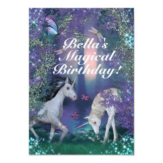 Unicorn Fantasy Woodland Birthday Party Card
