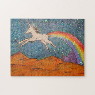 Unicorn Farting a Rainbow in the Sky Jigsaw Puzzle