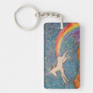 Unicorn Farting a Rainbow in the Sky Key Ring