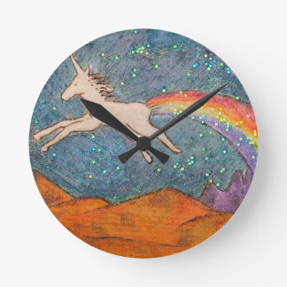 Unicorn Farting a Rainbow in the Sky Round Clock