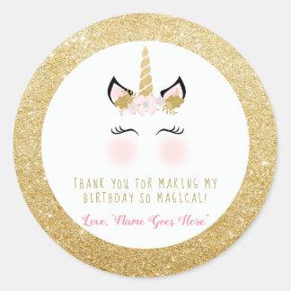 Unicorn Favor Sticker- Glitter gold and pink Classic Round Sticker