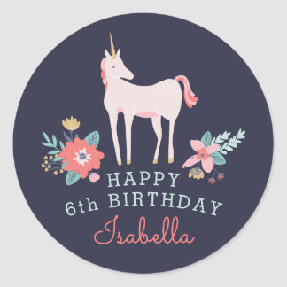 Unicorn Fields Birthday Party Classic Round Sticker