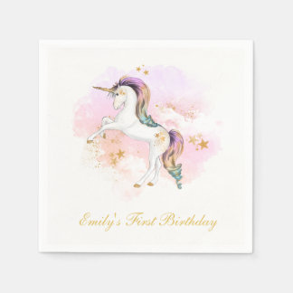Unicorn First Birthday Napkins Paper Napkin