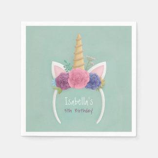 Unicorn Floral Girls Birthday Party Supplies Disposable Serviettes