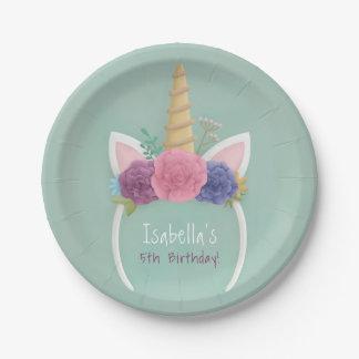 Unicorn Floral Spring Girls Birthday Party Plates