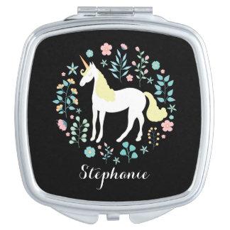 Unicorn & Flowers Black Personalized Makeup Mirror