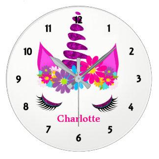 Unicorn Flowery Super Cute Girly Personalized Large Clock