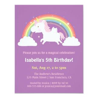 Unicorn Flying Over Rainbow Girls Birthday Party 11 Cm X 14 Cm Invitation Card