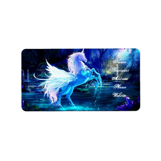 Unicorn Forest Stars Cristal Blue Address Label